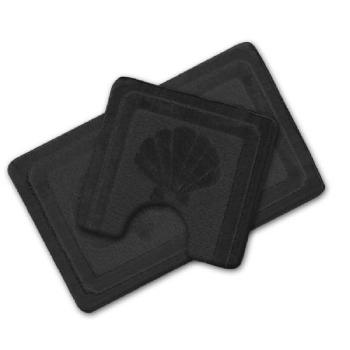 LUXURY 2 PIECE NON SLIP BATH MAT & PEDESTAL BLACK COLOUR